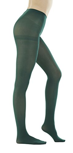 STYLEGAGA Women's 80 Denier Semi Opaque Solid Color Footed Pantyhose Tights 2Pair (M/L, Dark Green) -