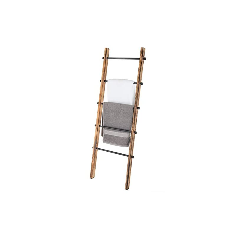 MyGift 5-ft Urban Rustic Wall-Leaning Burnt Wood & Metal Quilt Blanket and Towel Storage Ladder Stand