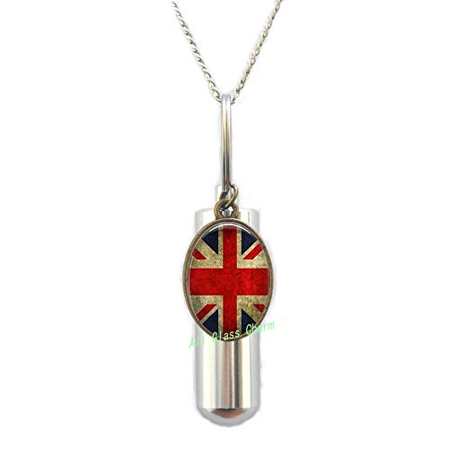 AllGlassCharm Union Jack British Flag-URN Cremation URN Necklace-Union JackJewellery-UK Flag Cremation URN Necklace-Great Britain Flag URN,AS077 ()