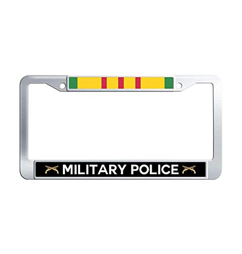Toanovelty Army Military Police Vietnam Veteran Metal Auto License Plate Frame, Waterproof Stainless Steel Auto License Tag Holder 6' x 12' in