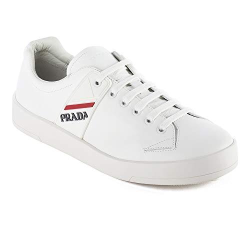 (Prada Men's Leather Sneaker Shoes White)