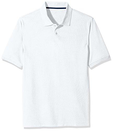 Amazon Essentials Men's Cotton Pique Polo Shirt, White, Large
