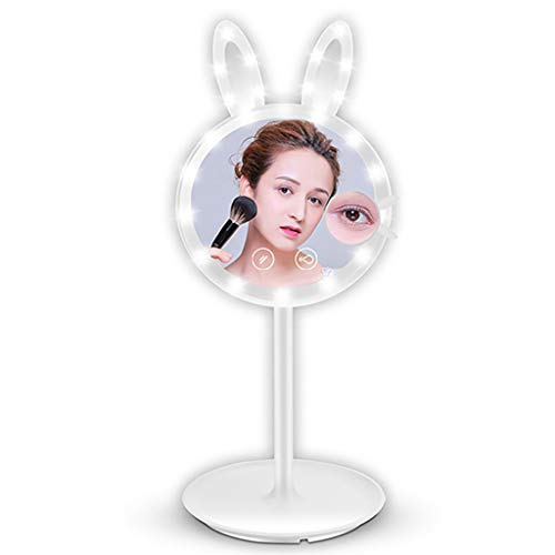 Shan_s Vertical Table Mirror lamp,Rabbit Shape Makeup Mirror/Vanity Mirror Lights,7X Magnification Lighted Up Mirror Smart Touch Switch Adjustable Angle of 180°Design (White)