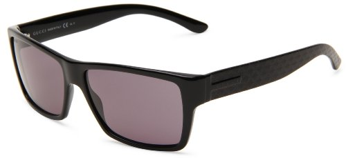 Gucci Men's 1000/S Wrap Sunglasses,Black Frame/Dark Grey Lens,One - Gucci Wrap Sunglasses