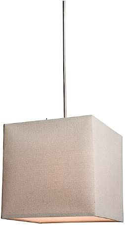Artcraft Lighting Mercer Street Small Square Chandelier, Oat Meal with Oatmeal Linen Shade