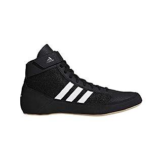 adidas Kids' HVC Wrestling Shoe, Black/White/Iron Metallic, 2.5