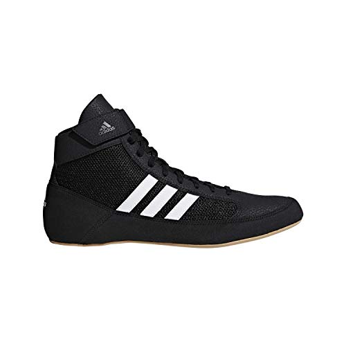 adidas Men's HVC Wrestling Shoe, Black/White/Iron Metallic, 10.5