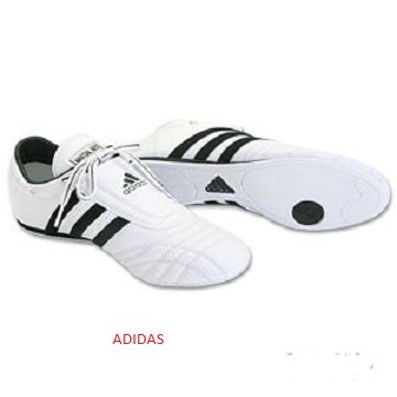Adidas Martial Arts Shoe, White w/ Black Stripes, men's size 8 by adidas