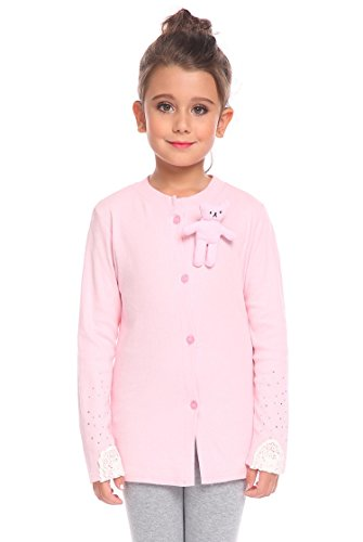 Arshiner Little Girls Crewneck Cardigan Long Sleeve Children Button Cotton Sweater Uniform Tops for Girls,Pink,130(Age for 6-7 years)
