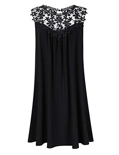 AMZ PLUS Womens Plus Size Lace Sleeveless Casual Loose Swing T-Shirt Midi Dress (3XL, Black)