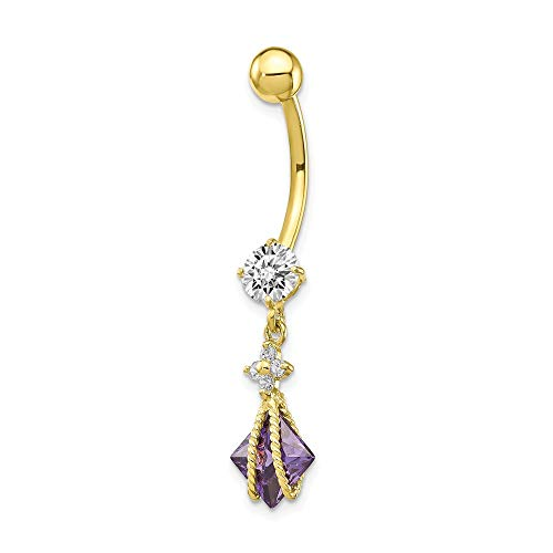 10k Yellow Gold Square Purple Amethyst Cubic Zirconia Cz Belly Button Rings Screw Navel Bars Body Piercing Naval Fine Jewelry Gifts For Women For ()