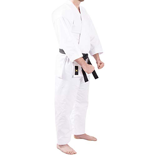 whistlekick Luminary Martial Arts Uniform - Tradtitional-Cut, Slim, White Karate Gi, Taekwondo with Warranty - Size 4