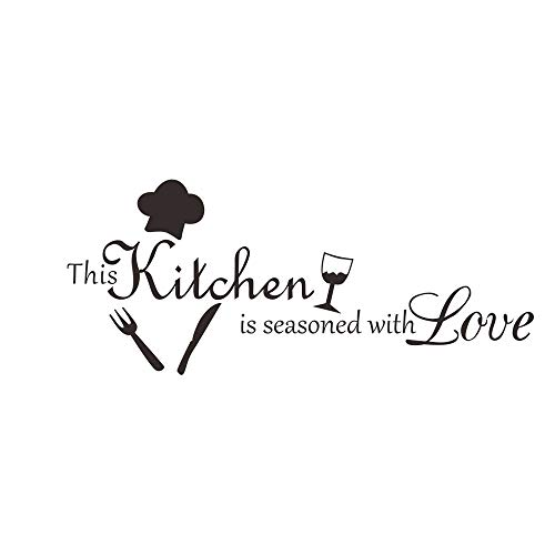 Vacally Removable Carved Wall Sticker Kitchen Restaurant Wall Art Background Decoration Adornment Wall Glass Window Decoration 58 x 24CM]()