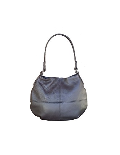 Fgalaze Metallic gray leather bag - women's purse - slouc...