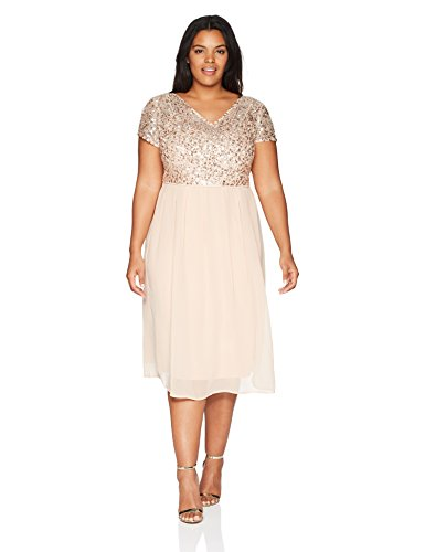 Adrianna Papell Women's Plus Size Tea Length Beaded Dress with Metallic Mesh Bodice, English Rose, 22W - English Evening Tea