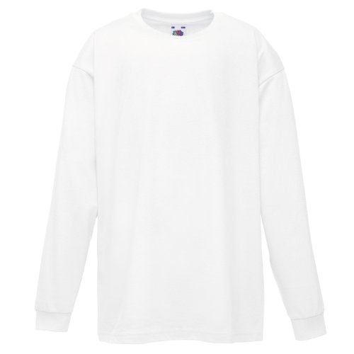 Fruit of the Loom Childrens/Kids Valueweight Long Sleeve T-Shirt (Pack of 2) (9-11) (White) (Fruit Of The Loom Boys Tshirts)
