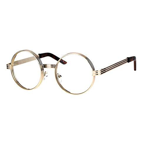 Mens Steampunk Victorian Thick Metal Round Circle Lens Eyeglasses Light Gold -