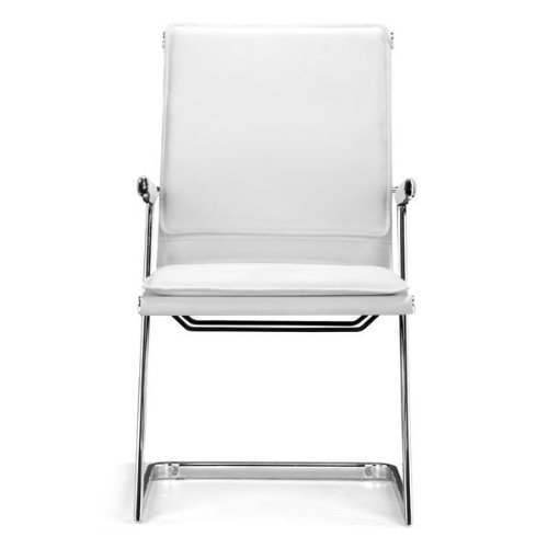 Zuo Modern 215211 Lider Plus Conference Chair in White Finish; With its ergonomically shape, padded back and seat cushions, the chair works in comfort; Has a chromed steel frame with soft neoprene arm pads