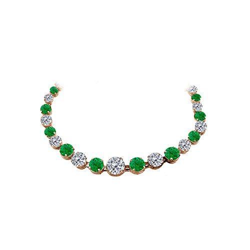 CZ Emerald Graduated Necklace in 14K Rose Gold Vermeil