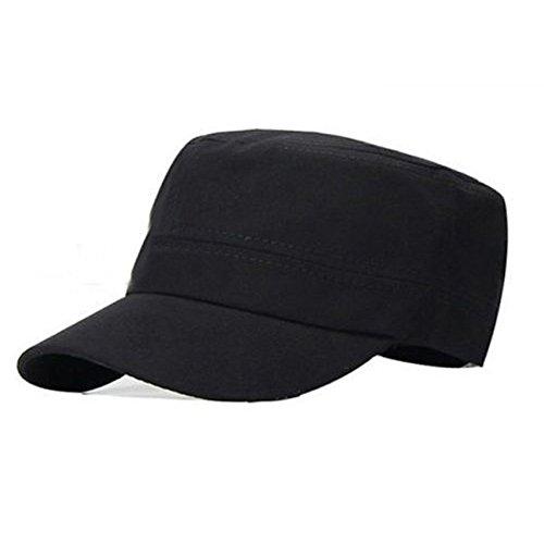 PATTONJIOE Classic Vintage Army Cadet Style Cotton Cap Adjustable Black