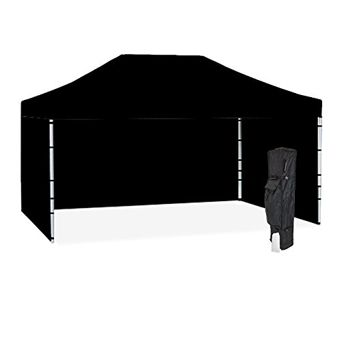 k Canopy Tent Kit – Resists up to 30mph Wind Gusts – Includes Durable Aluminum 10ftx15ft Frame, Water-Resistant Top and 2 Full Sidewalls, Roller Bag, and Stake Kit ()