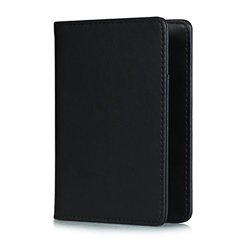 Black Leather Passport Case - Passport Cover Holder Travel Wallet for Men & Women - Leather Passport Case- Securely Holds Passport, Business Cards, Credit Cards, Boarding Passes (Black)
