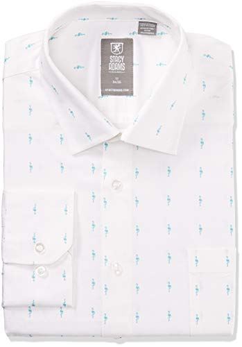 STACY ADAMS Men's Big and Tall Contemporary Modern Fit Dress Shirt, Aqua Flamingo, 22