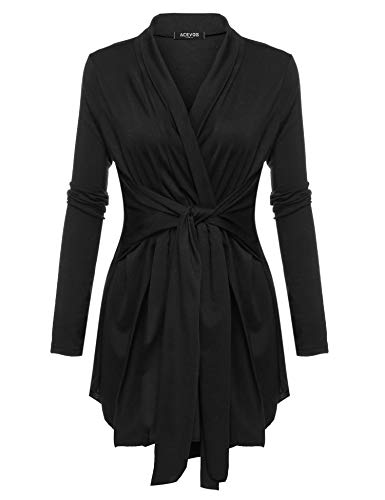 (ACEVOG Women's Classic Long Sleeve Asymmetric Open Front Lightweight Soft Drape Cardigan, Black, Large )