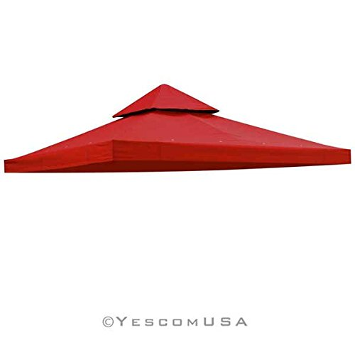 Red 10' x 10' Feet Square Garden Canopy Gazebo Replacement Top 2-Tier Outdoor Patio Backyard Party UV Protection Sun Shade Waterproof Polyester Fabric Tent (Tier Gazebo 2)