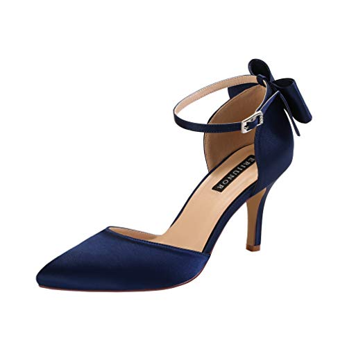 - ERIJUNOR E1876B Wedding Evening Party Shoes Comfortable Mid Heels Pumps with Bow Knot Ankle Strap Wide Width Satin Shoes Navy Size 8