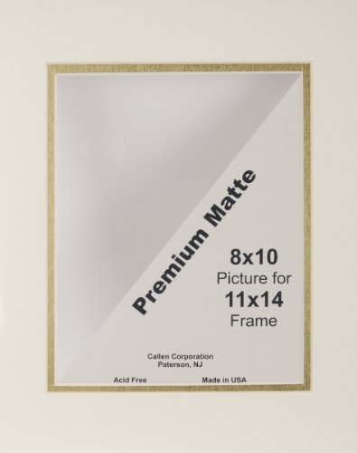 Callen Photo Mat Double Hand Cut with Bevel Edge, 11 by 14-Inch, Ivory/Gold Core