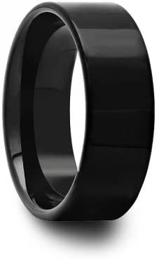 8 mm Mens Black Tungsten Carbide Rings Wedding Bands Pipe Cut Polished