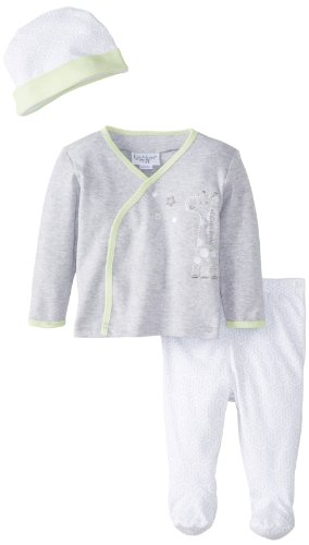 Kyle & Deena Unisex-Baby Newborn 3 Piece Set Cap Cardigan and Footed Pant Grey, Grey, 3-6 Months