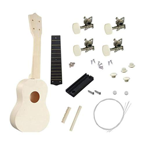 DIY Ukulele Kit Manual Assembly Mini 4 Strings Ukulele Hawaii Guitar Handwork Kit with Installation Tools Building Toys Promote Operational Ability for Kids Friends Family Amateur