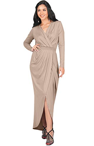 KOH KOH Plus Size Womens Long Sleeve Full Length V-Neck Sexy Wrap Empire Waist Formal Winter Fall Cocktail Wedding Evening Gown Gowns Maxi Dress Dresses, Tan Light Brown 3XL 22-24