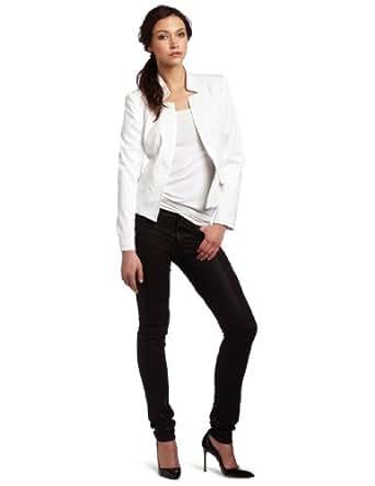 Trina Turk Women's Trent Fitted Blazer Jacket, White, 4