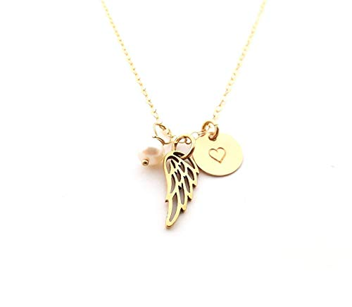 Dainty Angel Wing Necklace - 14k Gold Fill - Memorial Jewelry - Sympathy ()