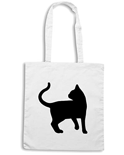 86241 02 VINYL STICKER ANIMALS Borsa FUN0949 Bianca CAT ANIMAL DECAL Shopper CATS 1vPTS7