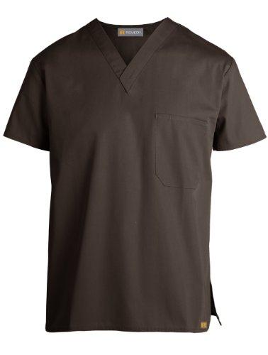 Pocket Unisex V-neck Scrub Top - Remedy Scrubs 'Unisex V-Neck One-Pocket Top' Scrub Top Chocolate X-Large
