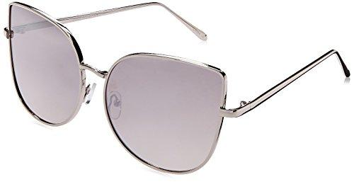 zeroUV Women's Oversize Slim Metal Frame Colored Mirror Flat Lens Cat Eye Cateye Sunglasses, Shiny Silver / Silver Mirror, 58 - Amazon Sunglasses Monster Gentle