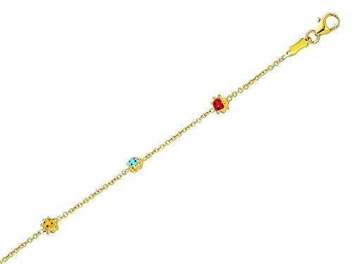 14k Yellow Gold Shiny Cable Link Chain with 3 Station Ladybug Adjustable Childrens Bracelet by Finejewelers