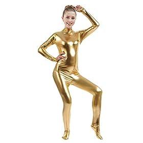 Ensnovo Womens Shiny Metallic Zentai Suit Wetlook Spandex Turtleneck Unitard Golds