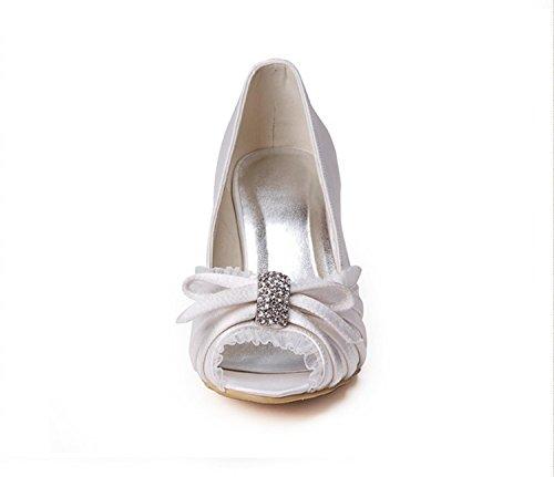 Wedding Shoes Bridal 8cm Ruffle White Satin GYMZ631 Open Womens Stiletto Toe Minishion Heel Heel Bv8Tx