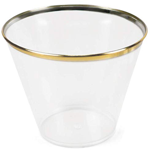 Set of 50 Gold Rimmed Disposable Cups - Elegant Plastic Cups Gold Rim - Fancy Gold Plastic Party Cups for Weddings - Disposable Wine Glasses - Plastic Cocktail Glasses - Bridal Shower Cups Gold Party ()