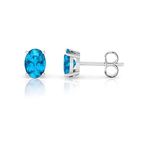 14K White Gold Oval Cut Genuine Swiss Blue Topaz Stud Earrings (7x5mm) - Oval Cut Swiss