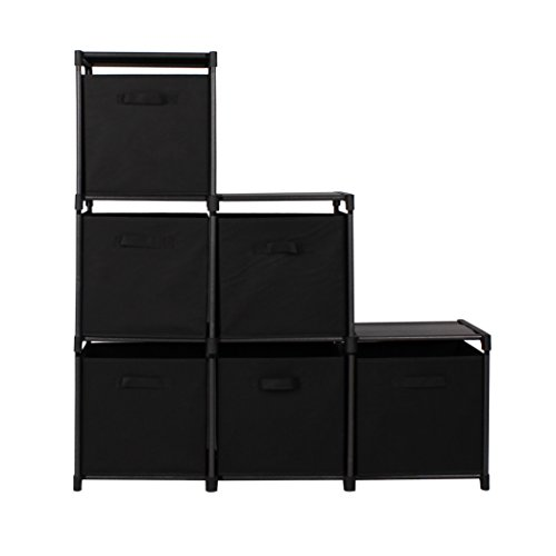 mockins 3 Tier Storage Rack Bookcase Shelf Bundle With 6 Foldable Cube Storage Bins That Perfectly Fit Into The 6 Cube Closet Organizer Cabinet - Black Bins