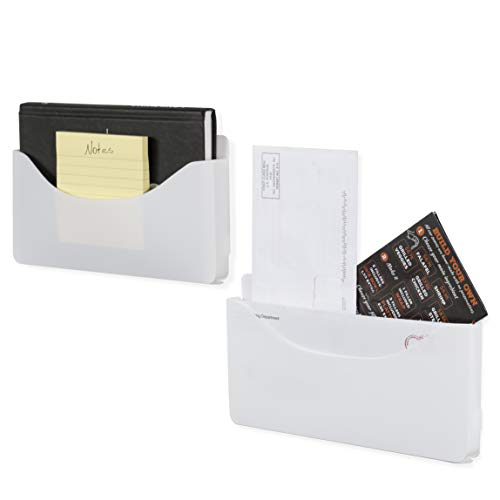 Wallniture Origami Wall File Folder and Magazine Wall Pocket Organizer for Classroom Recycled Plastic, White, Set of 2, Assembly Required -