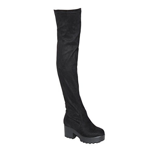 Beston EJ76 Women's Stretchy Snug Fit Block Heel Over the Knee Thigh High Boots, Color:BLACK SUEDE, (Block Heel Boot)