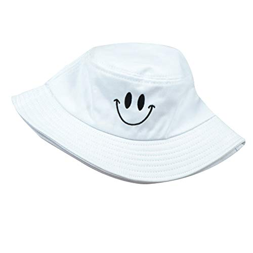 DesertCreations Bucket Hat UV Protection, Leisure Smiley Face Embroidery Fisherman Hat Cotton for Hiking Fishing Gardening(White) (Embroidery Bucket Hat)