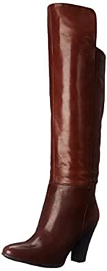 Nine West Women's Quikstep Leather Slouch Boot, Brown, 5 M US
